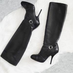 Dries Van Noten Knee High heel boots black leather